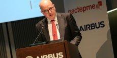 Christophe Maistre, président de Pacte PME, chez Airbus le 13 décembre