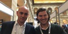 Jérémie Rosselli, le responsable de la France, et Valentin Stalf, fondateur et directeur général de N26, ce mercredi au Paris Fintech Forum au Palais Brongniart.