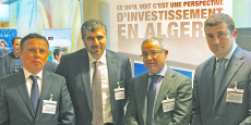 Quelques-uns des patrons algériens du Forum des chefs d'entreprise (FCE) présents le 27janvier à Paris, pour participer à la Rencontre Algérie de Business France. De gauche à droite: Mehdi Bendimerad, vice-président du FCE aux Relations internationales; Laïd Benamor, VP du FCE à l'Industrie; Brahim Benabdeslem, VP du FCE aux Affaires économiques; Samir Yaici, membre du Comité exécutif et cofondateur du FCE.