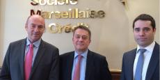 Bruno Deschamp, président du directoire, entouré de Philippe Bellemin-Noël, directeur de la communication et Olivier Joulain, secrétaire général.