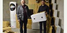 Jean-Claude et Aurélien Lacaze, inventeurs des blocs Isostal, les briques du système constructif innovant d'Innomur