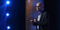 Satya Nadella, CEO de Microsoft, a annoncé le lancement d'une application allégée de Skype lors de l'événement Future Decoded, en Inde, le 22 février 2017.