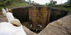 Vue sur le site historique de la chapelle Saint-Georges en Ethiopie