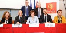Les divers partenaires de FOSTER TPE-PME, réunis autour de Carole Delga (Région) et Alessandro Tappi (FEI)
