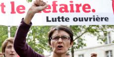 La candidate de Lutte ouvrière Nathalie Arthaud lors d'une manifestation contre la loi Travail, le 26 mai 2016.