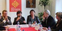 La présidente de Région, Carole Delga, entourée des élus locaux, dont le député J. Cresta et la vice-présidente de Région chargée de la transition écologique, A. Langevine.