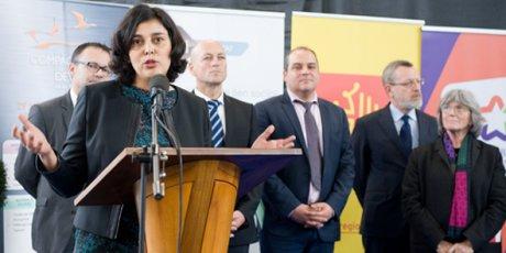 Myriam El Khomri, la ministre du Travail, lors de l'inauguration de la Maison des Compagnons du Devoir à Baillargues (34) le 23 mars.