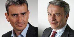 Eric Le Jaouen (à g.) président du Medef Loire doit désormais composer avec la candidature de Patrick Martin, qui a déjà occupé le poste de président du Medef Rhône-Alpes de 2007 à 2011 (à d.).