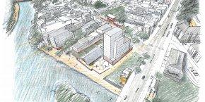 A l'Octroi, l'habitat sera mixte, associant logements sociaux, accession sociale et accession libre, et divers. (Dessin présentant un projet pour l'îlot de l'Octroi à Rennes.)