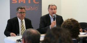 Jean-Michel Lattes, président de Tisséo et Jean-Luc Moudenc, président de Toulouse Métropole