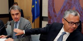Michel Paulin, le DG de SFR (à gauche) et Michel Combes, PDG de SFR et DG d'Altice.