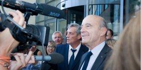 Alain Juppé, maire de Bordeaux, aux côtés de Philippe Saurel, son homologue de Montpellier