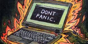 ATC - dont panic - traded par Sarah via Flickr. CC License by.
