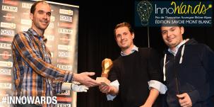 Rémi Thomas et Pierre-François Tissot (prix InnoJump, décerné par le vote du public), fondateurs de l'entreprise In&Motion avec Nicolas Huchet, président d'honneur des InnoWards.