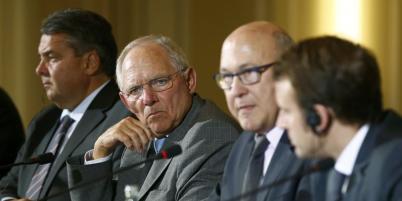 De gauche à droite, Sigmar Gabriel, Wolfgang Schauble, Michel Sapin, et Emmanuel Macron.