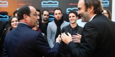 François Hollande et Xavier Niel à la Halle Freyssinet mercredi.