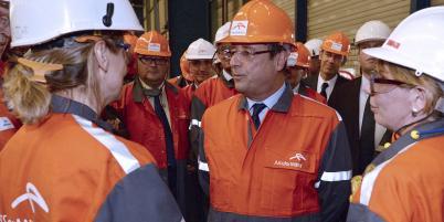 François Hollande, lors de sa dernière visite à Florange fin septembre 2013.