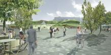 Maquette de l'aménagement, côté nord, autour de la future gare, appelée « Pôle d'échanges multimodal », EuroRennes./ DR