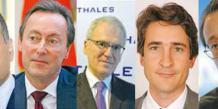 De gauche à droite, Marwan Lahoud - Airbus, Fabrice Brégier - Airbus, Jean-Bernard Lévy - Thales, Patrice Caine - Thales, Olivier Andriès - Turbomeca.