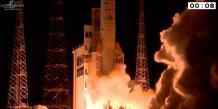Il s'agit du 4e lancement d'une Ariane 5 depuis le début de l'année. La fusée Ariane 5 ECA s'est une nouvelle fois arrachée du sol du Centre spatial guyanais avec quelques minutes de retard le 11 septembre 2014 à 19h05 (Kourou), 12 septembre 2014 à 0h05 (Paris). (Photo Arianespace/Cnes)