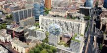 Vue d'architecte, la barre Desaix (au centre) et devant les futurs immeubles