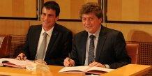 Manuel Valls et Damien Alary, pour la signature du CPER