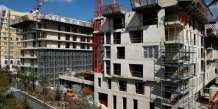 A view shows scaffolding at a construction site for new housing buildings in paris