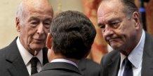 Les anciens présidents de la République Valéry Giscard d'Estaing, Jacques Chirac et Nicolas Sarkozy, ici en mars 2010