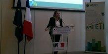 La secrétaire d'État au numérique Axelle Lemaire, le 27 avril 2015 à Bercy lors du lancement du label Tech 40