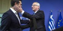 Alexis Tsipras 22.06.2015 accueilli par Jean-Claude Juncker lors d'une réunion à Bruxelles avant la tenue de