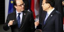 Le président de la République François Hollande et le Premier ministre chinois Li Keqiang en octobre 2014 à Milan