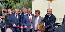 Stéphane Richard en compagnie de Danien Alary, president de la region Languedoc-Roussillon et Denis Bouad, président du Conseil départemental du Gard