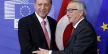 Le président turque Erdogan et le président de la Commission européenne Jean-Claude Juncker le 5 octobre