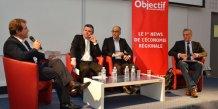 Philippe  Saurel a répondu aux questions d'une dizaine de décideurs : ici, André Deljarry, président de la CCI de Montpellier