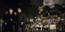 Angela merkel et francois hollande rendent hommage aux victimes des attentats