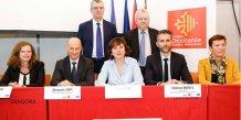 Les divers partenaires de FOSTER TPE-PME, réunis autour de Carole Delga (Région) et Alessandro Tappi (FEI)Les divers partenaires de FOSTER TPE-PME, réunis autour de Carole Delga (Région) et Alessandro Tappi (FEI)