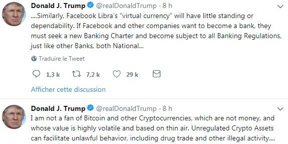 Trump se joint au concert anti Bitcoin et sermonne Facebook avec son Libra