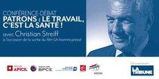 Replay vidéo de la conférence-débat avec Christian Streiff sur le thème de la santé des chefs d'entreprise, en partenariat avec Groupe APICIL, BPCE (Banque Populaire Auvergne Rhône-Alpes et Caisse d'Epargne Rhône Alpes) et le Medef.