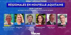 Geneviève Darrieusecq (LREM/Modem), Edwige Diaz (RN), Nicolas Florian (LR), Clémence Guetté (LFI/NPA), Alain Rousset (PS) et Nicolas Thierry (EELV) échangeront sur les enjeux économiques de la Nouvelle-Aquitaine le jeudi 3 juin 2021 à Bordeaux.