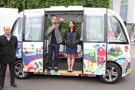 Francky Trichet et Johanna Rolland, navette autonome électrique, Nantes city Lab, Frédéric Thual