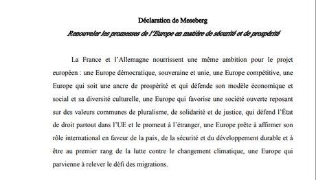 Déclaration de Meseberg, Macron, Merkel, France, Allemagne