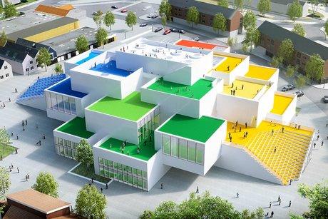 Logement en briques multicolores au Danemark (Airbnb)