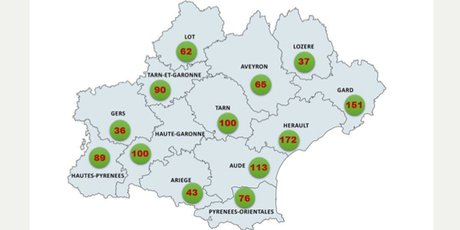 Carte des bornes de recharge en Occitanie (sept 2018)