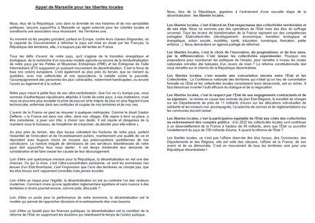 appel de Marseille, Régions de France, AMF, maires de France,