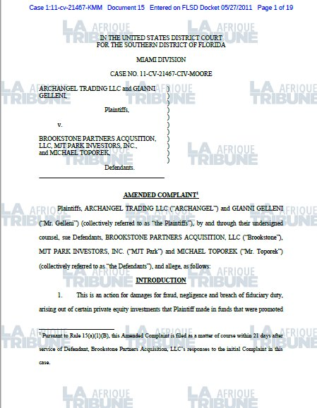 Capture page de garde plainte Brookstone Toporek