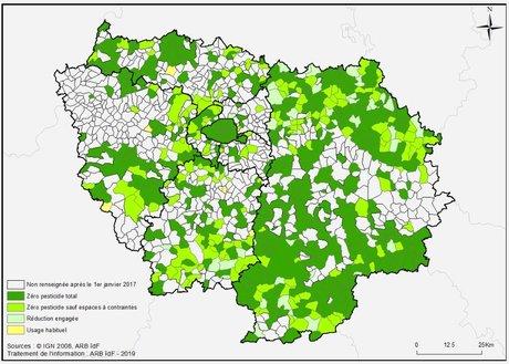 Niveau d'usage des pesticides des communes franciliennes