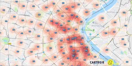heathmap Cartégie immobilier Bordeaux