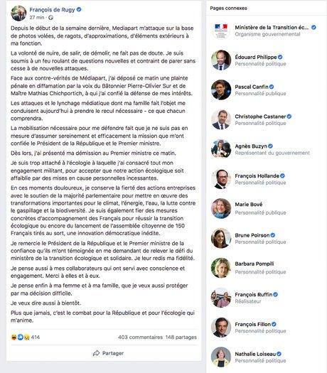 François de Rugy démission, communiqué, Facebook