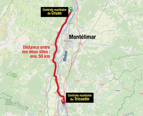 Infographie, distance sites nucléaires Cruas, Tricastin, carto OSM
