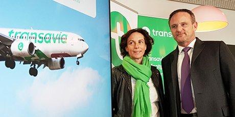 Nathalie Stubler (Pdg Transavia France) et Emmanuel Brehmer (président du directoire de l'aéroport de Montpellier)